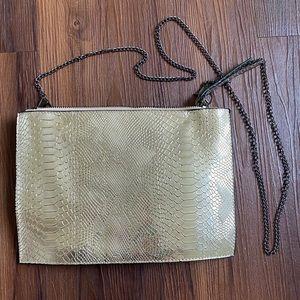 Champagne gold snakeskin crossbody bag purse